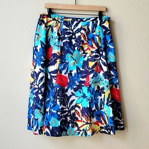 CHICO'S Colorful blue A-line midi skirt 2